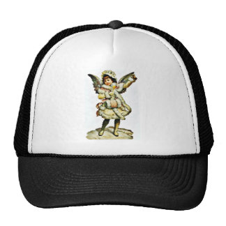 A girl dressed like an angel has handle and bell i mesh hat