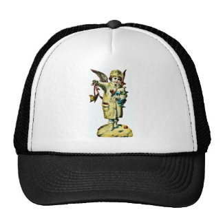 A girl dressed like an angel holds a sheep and a t trucker hats