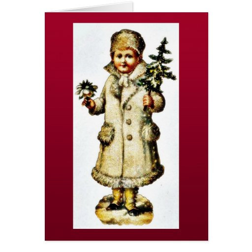 A Girl dressed well holidng christmas tree on hand Greeting Card