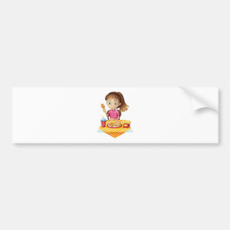 A girl eating at the fastfood store bumper stickers