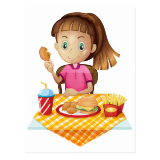 A girl eating at the fastfood store post card