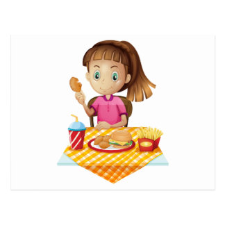 A girl eating at the fastfood store postcard