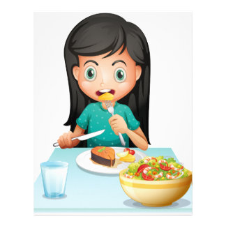 A girl eating her lunch letterhead