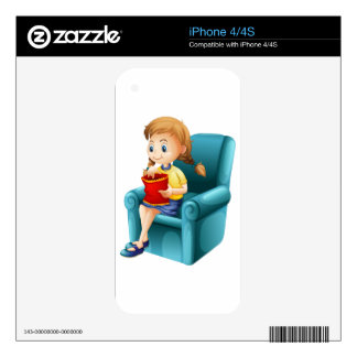 A girl eating junkfoods while sitting down iPhone 4S skin