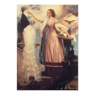 A Girl Feeding Peacocks Card