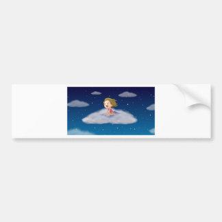 a girl flying on mat car bumper sticker