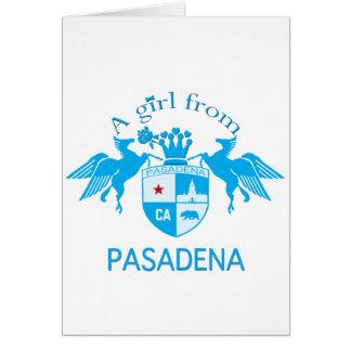 A Girl From PASADENA Logo Blue Emblem Greeting Cards