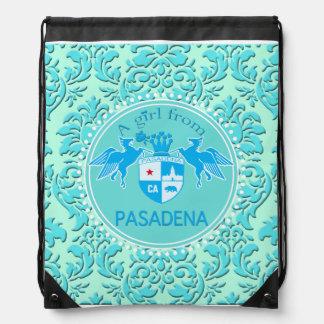 A Girl From PASADENA Logo Blue Emblem Damask Drawstring Bag