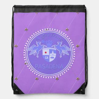 A Girl From PASADENA Logo Blue Emblem Diamonds Drawstring Bag