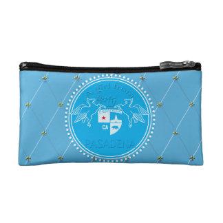A Girl From PASADENA Logo Blue Emblem Diamonds Makeup Bag