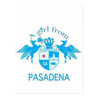 A Girl From PASADENA Logo Blue Emblem Postcard