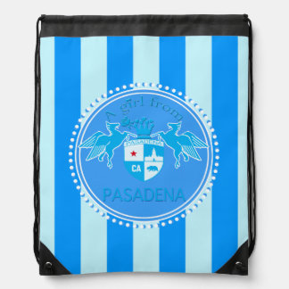 A Girl From PASADENA Logo Blue Emblem Stripes Drawstring Backpack