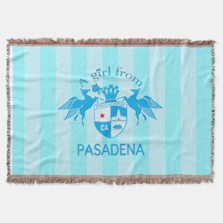 A Girl From PASADENA Logo Blue Emblem Stripes Throw