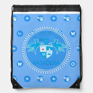 A Girl From PASADENA Logo Emblem Drawstring Backpack