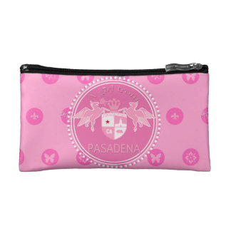 A Girl From PASADENA Logo Emblem Flower Charms Cosmetic Bag