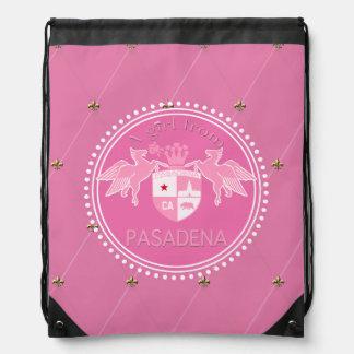 A Girl From PASADENA Logo Emblem Pink Diamonds Drawstring Bag