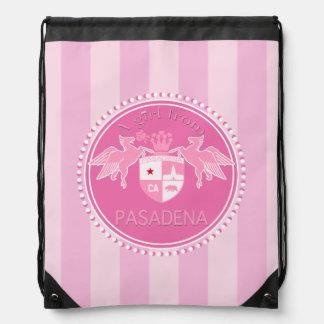 A Girl From PASADENA Logo Emblem Pink Stripes Drawstring Bag