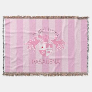 A Girl From PASADENA Logo Emblem Pink Stripes Throw