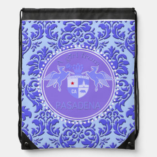 A Girl From PASADENA Logo Purple Emblem Damask Backpacks