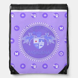 A Girl From PASADENA Logo Purple Emblem Drawstring Backpack