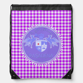 A Girl From PASADENA Logo Purple Emblem Gigngham Drawstring Bag