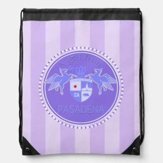 A Girl From PASADENA Logo Purple Emblem Stripes Drawstring Bag