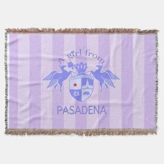 A Girl From PASADENA Logo Purple Emblem Stripes Throw