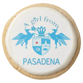 A Girl From PASADENA Logo with Pegasus Round Premium Shortbread Cookie
