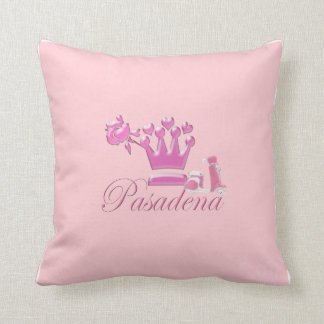 A Girl From PASADENA Logo with Pink Scooter Throw Pillow