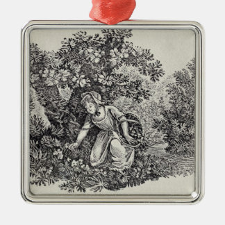 A Girl Gathering Flowers Christmas Tree Ornament