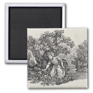 A Girl Gathering Flowers Magnet