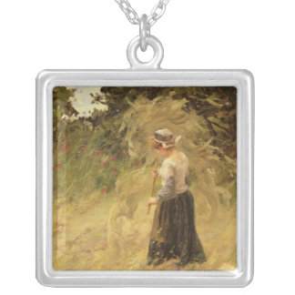 A Girl Harvesting Hay, 19th century Silver Plated Necklace