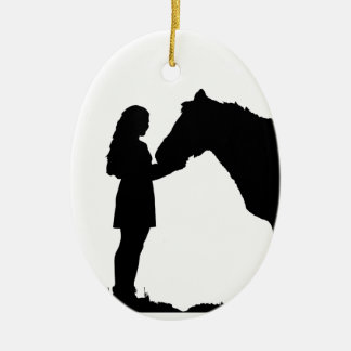 A Girl & Her Horse Love Silhouette Art Ceramic Ornament