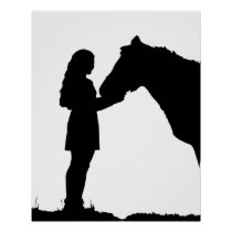 A Girl & Her Horse Love Silhouette Art Poster