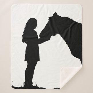 A Girl & Her Horse Love Silhouette Art Sherpa Blanket