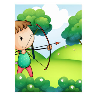 A girl holding a bow and arrow in the hills postcard