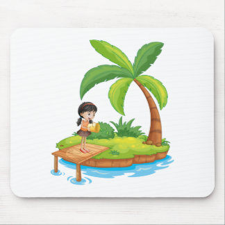 A girl holding a pail above the wooden diving boar mouse pad