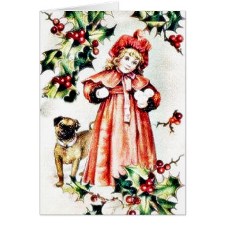 A girl holding ball like thing in hand and a dog l greeting card