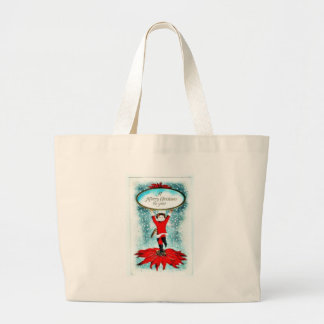 A girl holding christmas wishes canvas bag