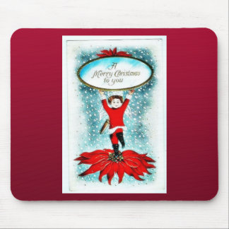 A girl holding christmas wishes mouse pad