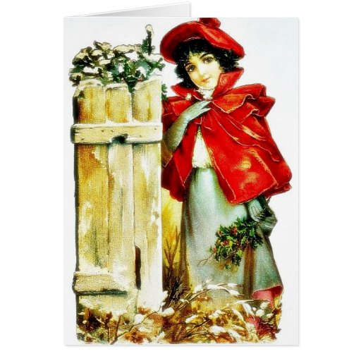 a girl holding holy leaves in hand and leaning on greeting cards