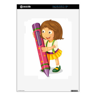 a girl holding pencil decals for iPad 2