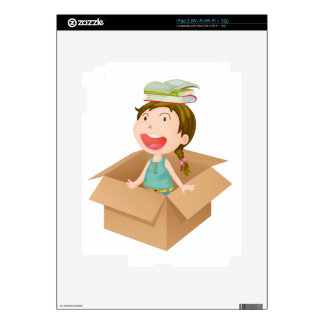 A girl in a box decal for the iPad 2