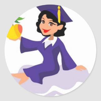 A Girl in Her Blue Cap and Gown Classic Round Sticker