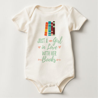 A Girl in Love With Her Books Bookworm Book Lover Baby Bodysuit