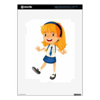 a girl in school uniform skins for iPad 3