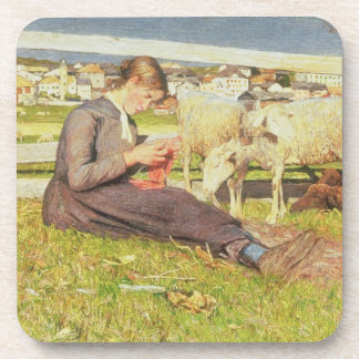 A Girl Knitting, 1888 (oil on canvas) Coaster