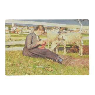A Girl Knitting, 1888 (oil on canvas) Laminated Placemat