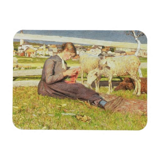 A Girl Knitting, 1888 (oil on canvas) Rectangle Magnet