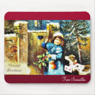 A girl knocks the gate of a house with gifts along mouse pad